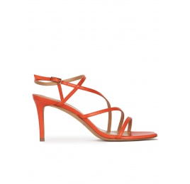 Strappy squared-off toe mid heel sandals in orange leather Pura López