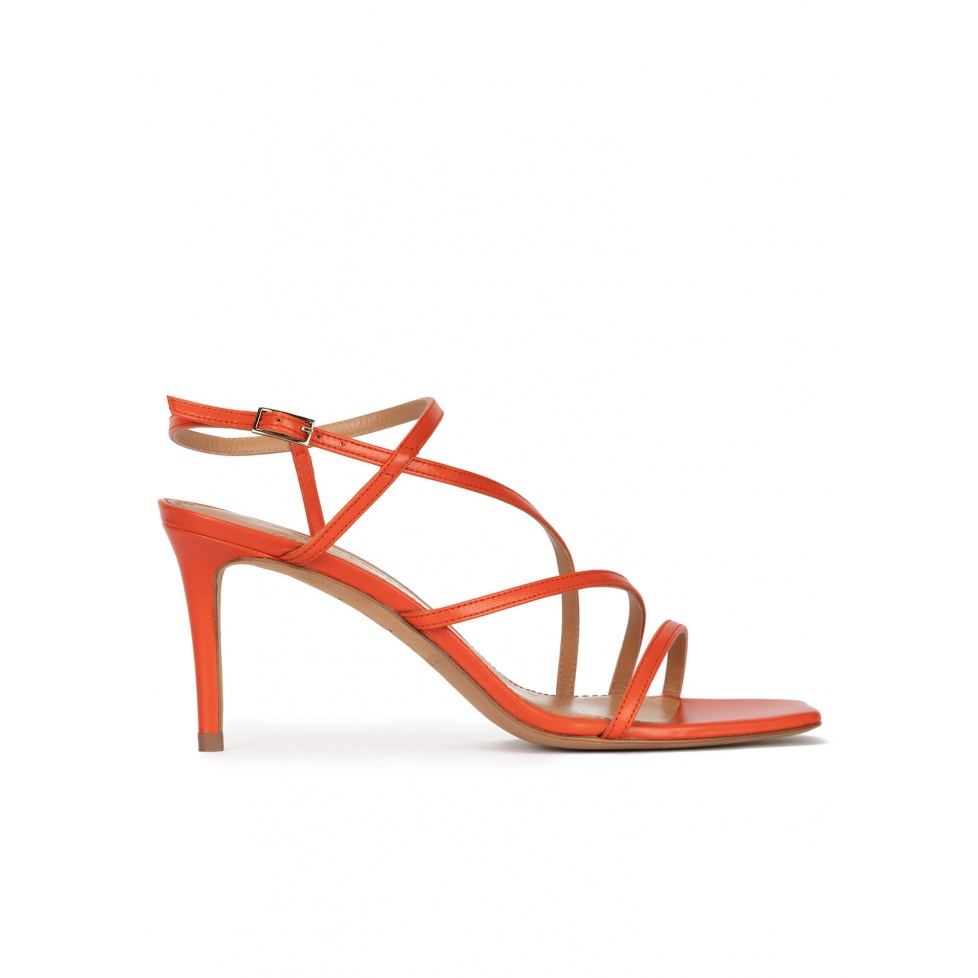 Strappy squared-off toe mid heel sandals in orange leather