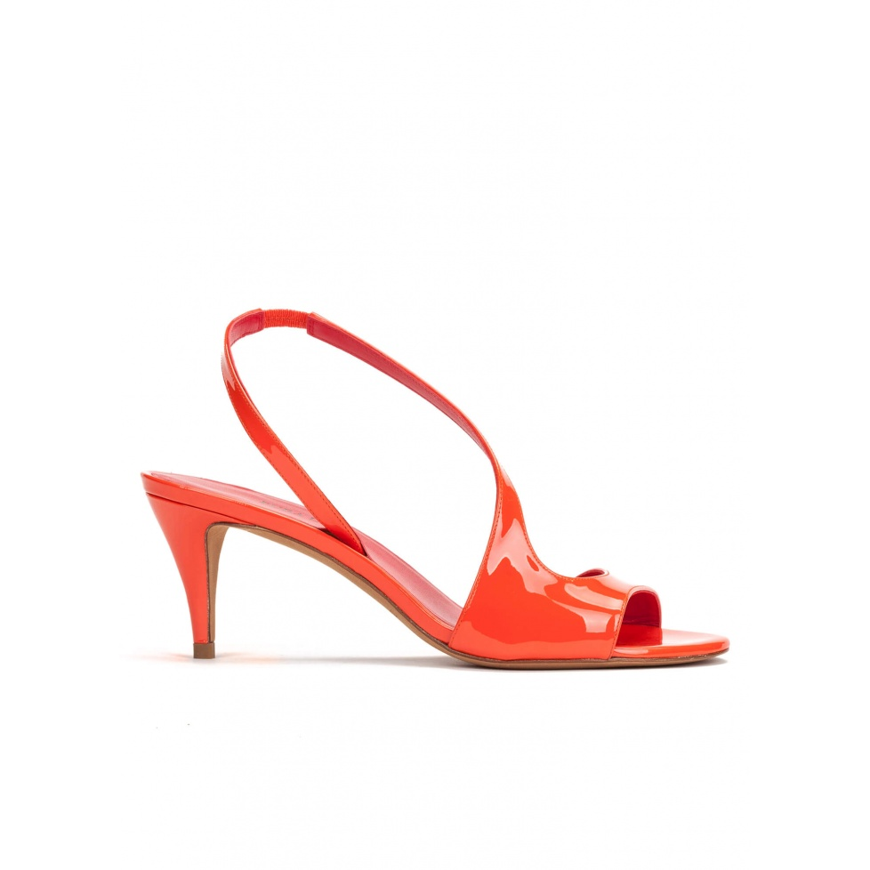 Strappy mid heel sandals in tangerine patent leather
