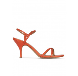 Orange leather mid curved heel sandals Pura López