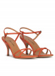 Orange leather mid curved heel sandals
