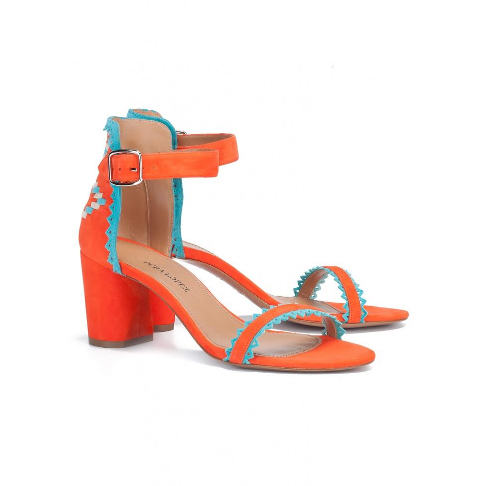 Orange tribal mid heel sandals - online shoe store Pura Lopez