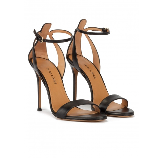Ankle strap high stiletto heel sandals in black leather Pura L�pez