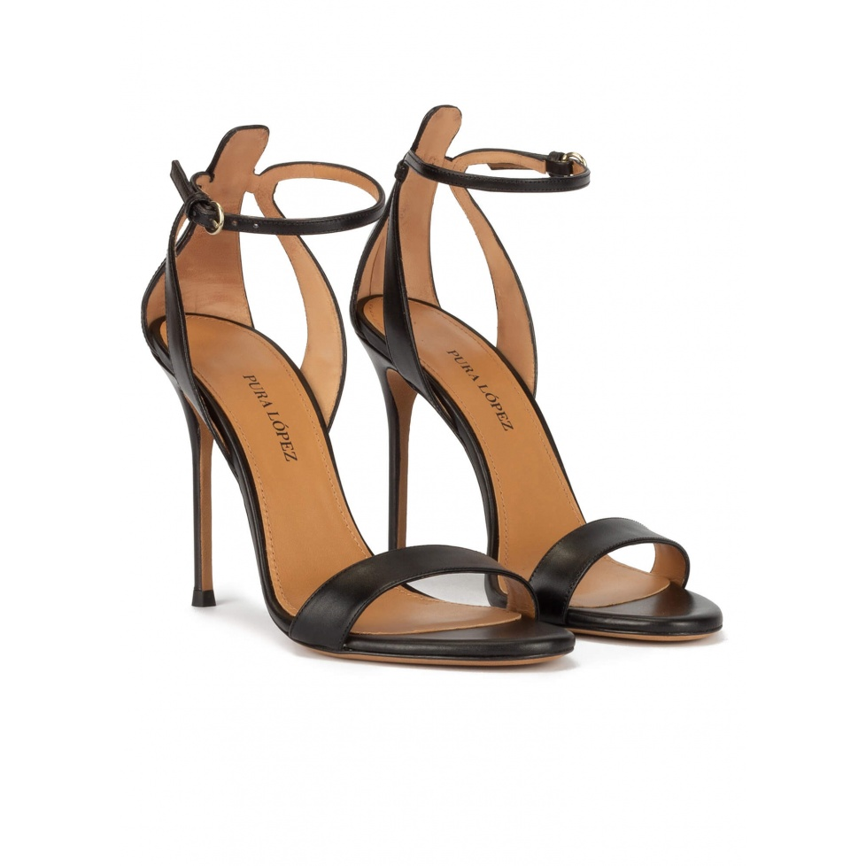 Ankle strap high stiletto heel sandals in black leather
