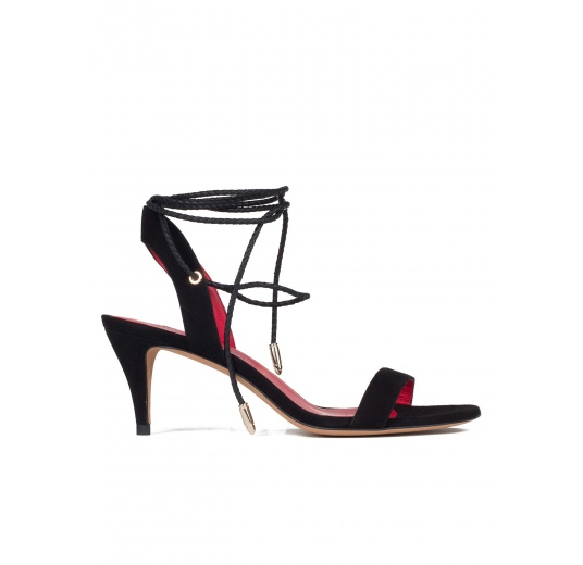 Lace-up mid heel sandals in black suede Pura L�pez