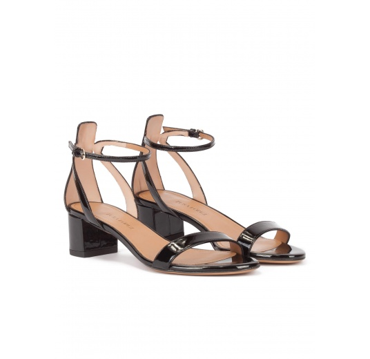 Mid block heel sandals in black patent leather with ankle strap Pura L�pez