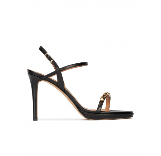 Crystal embellished platform heeled sandals in black calf leather Pura López