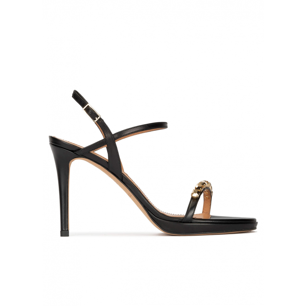 Crystal embellished platform heeled sandals in black calf leather