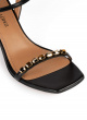 Crystal-embellished mid heel sandals in black leather