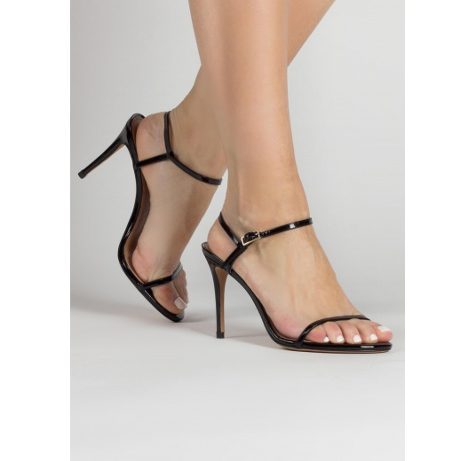 Strappy stiletto heel sandals in black patent leather Pura L�pez