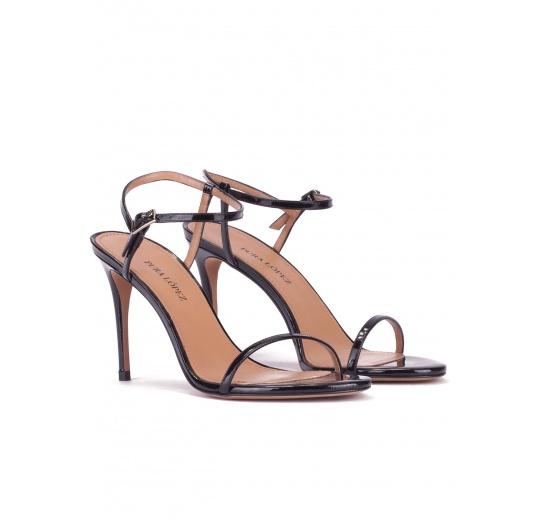 Strappy stiletto heel sandals in black patent leather Pura L�pez