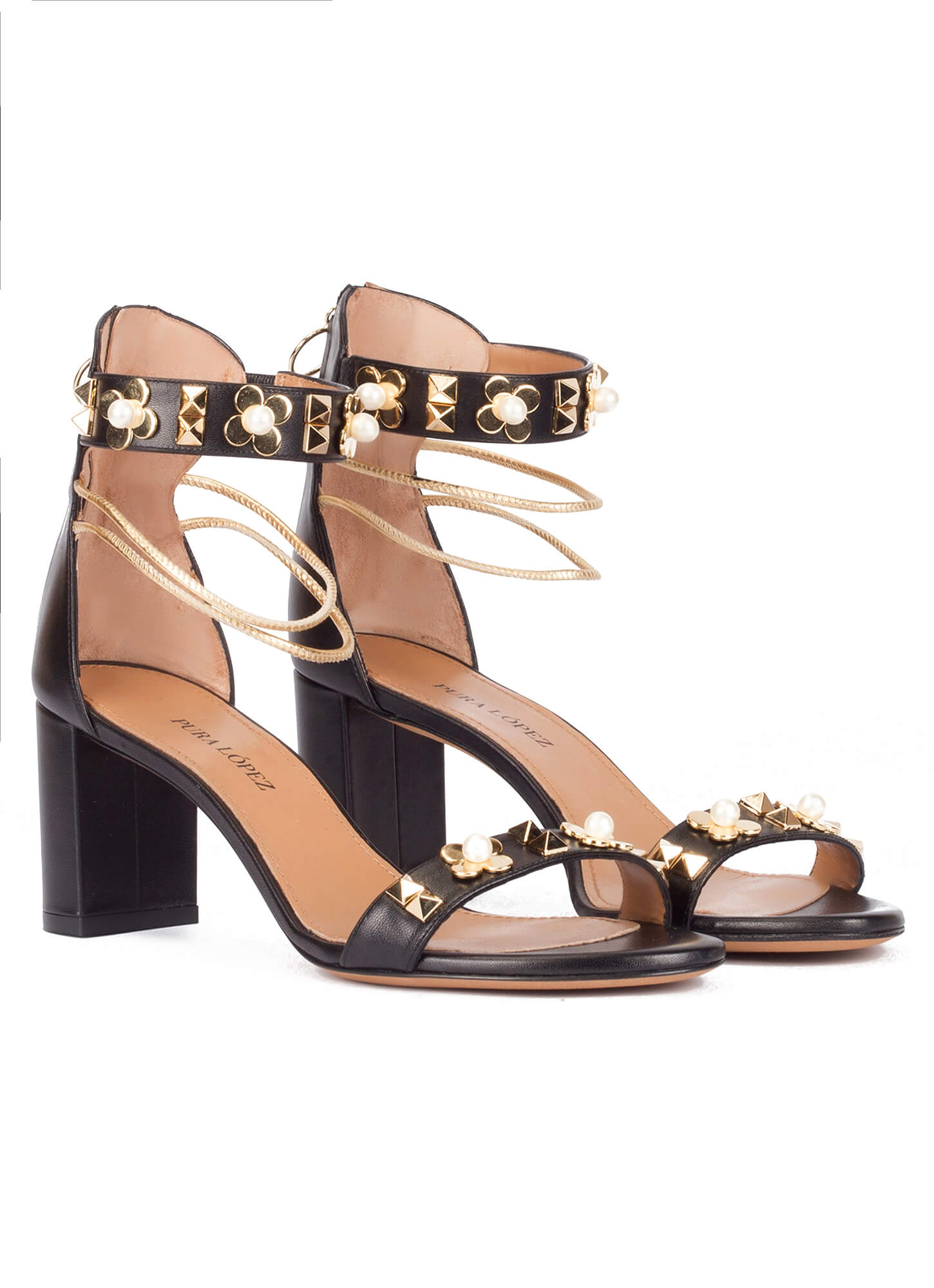 165d79a817de Black leather mid block heel sandals with ankle strap. Orabela Pura López