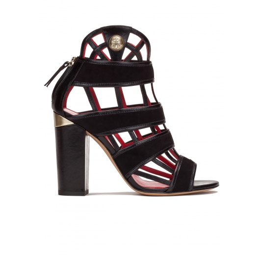 High block heel cage detailed sandals in black suede and leather Pura López
