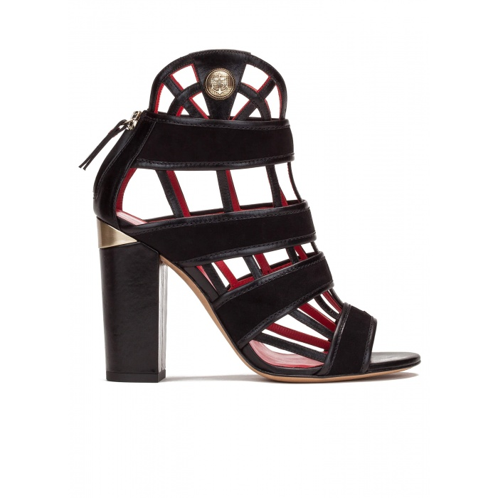 High block heel cage detailed sandals in black suede and leather