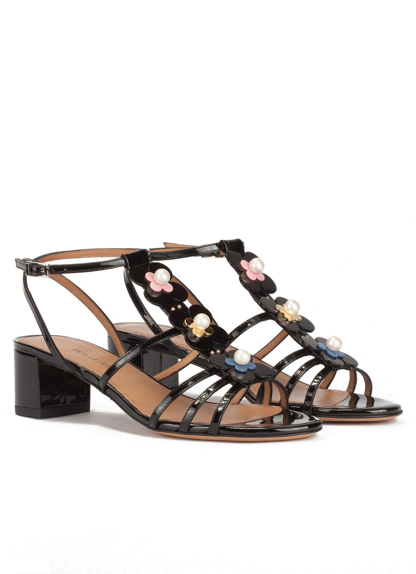 57cf48554b1 Floral-embellished mid block heel sandals in black patent . PURA LOPEZ