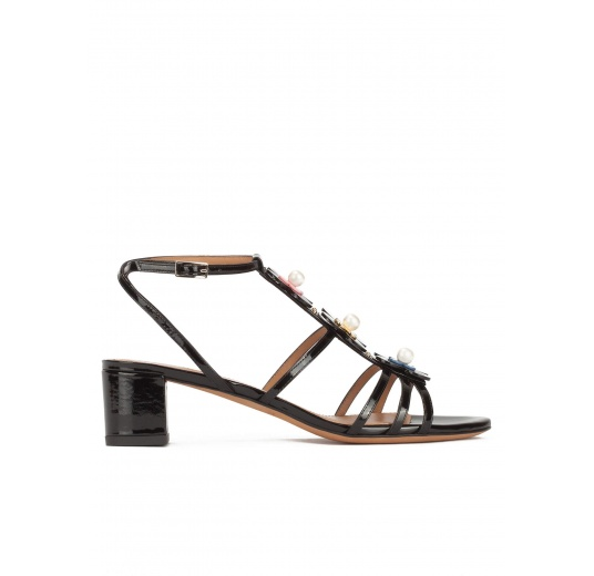 Floral-embellished mid block heel sandals in black patent Pura L�pez