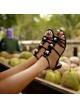 Floral-embellished mid block heel sandals in black patent
