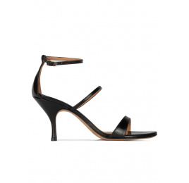 Ankle-strap mid heel sandals in black leather Pura López