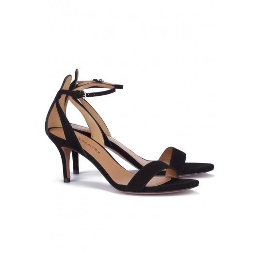 Black suede ankle strap mid heel sandals Pura López