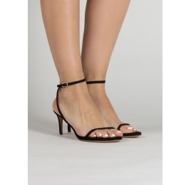 Strappy mid heel sandals in black suede Pura López