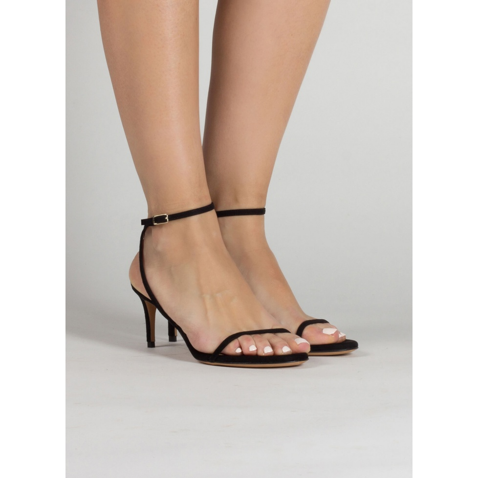 Strappy mid heel sandals in black suede