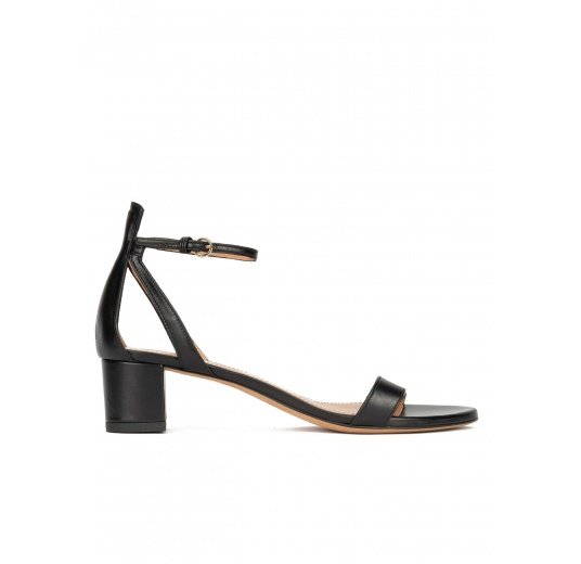 Ankle strap mid block heel sandals in black leather Pura López