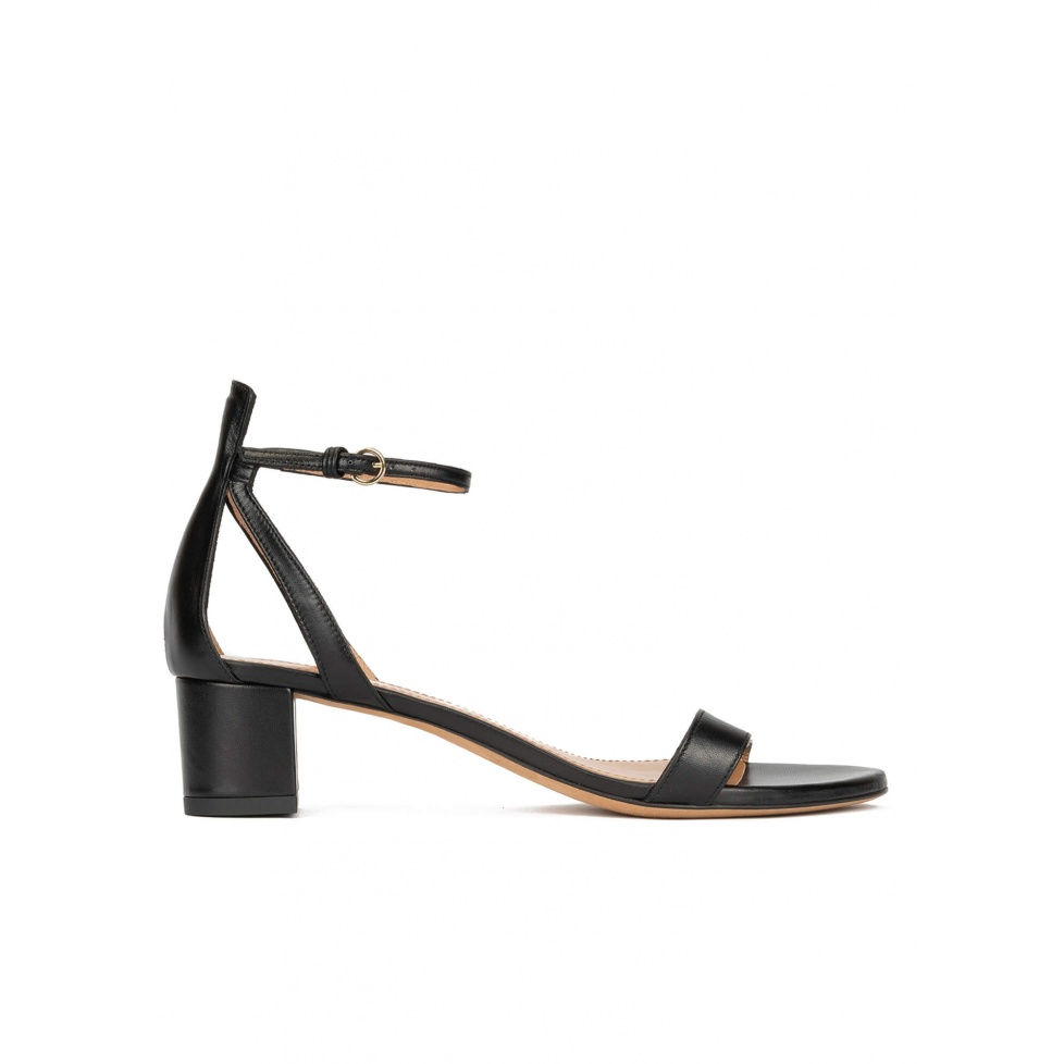 Ankle strap mid block heel sandals in black leather