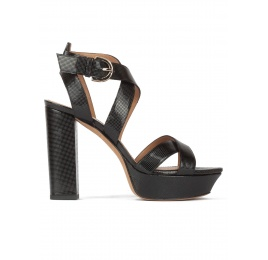 ca6b3ee8201 Black platform high block heel sandals in textured leather Pura López