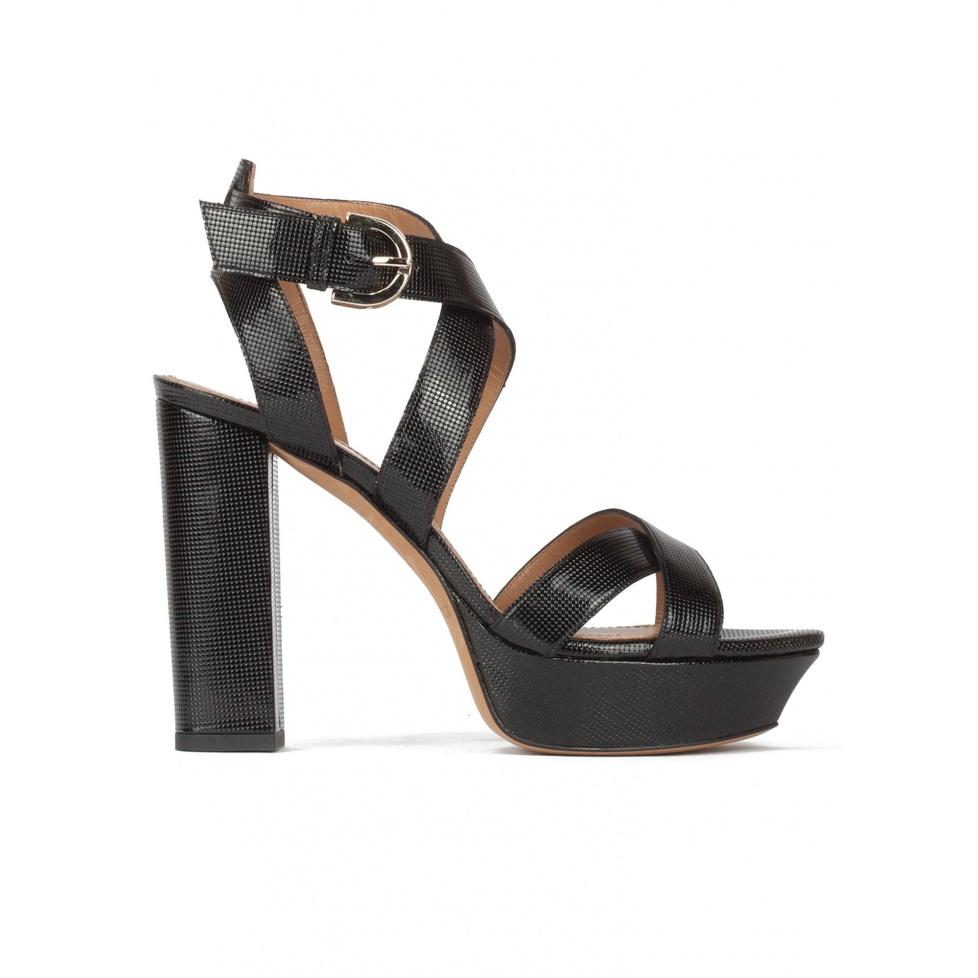 Black platform high block heel sandals in textured leather