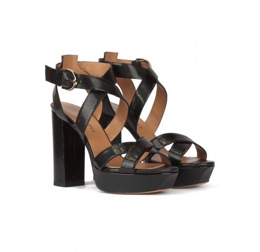 Black platform high block heel sandals in textured leather Pura L�pez