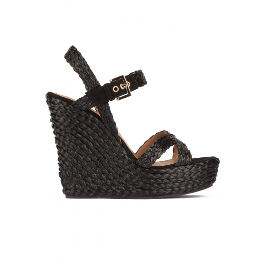 High wedge sandals in black raffia with buckle fastening Pura L�pez