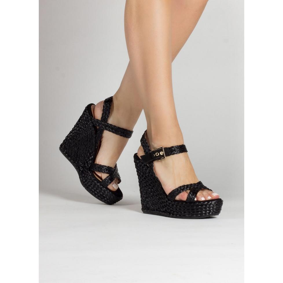 Sandales compensées en raphia et daim noir