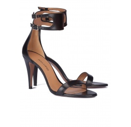 Black ankle strap high heel sandals Pura López