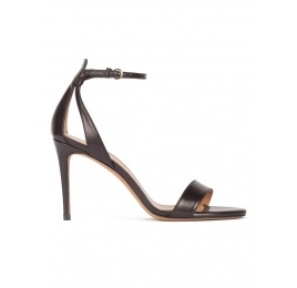 Minimalist ankle strap high heel sandals in black leather Pura López