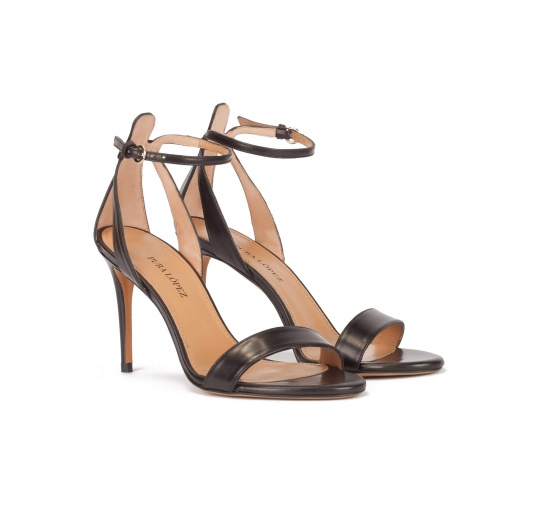 Minimalist ankle strap high heel sandals in black leather Pura L�pez