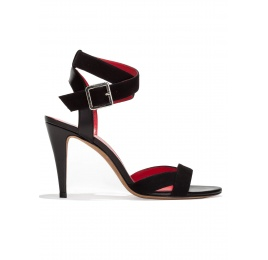 Strappy high heel sandals in black suede Pura López