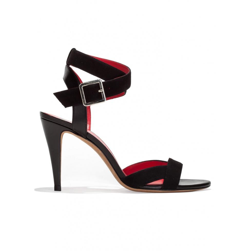 Strappy high heel sandals in black suede
