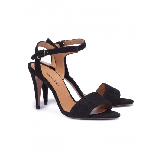Ankle strap heeled sandals in black suede Pura L�pez