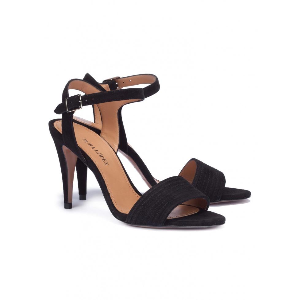Heeled sandals in black suede - online shoe store Pura Lopez
