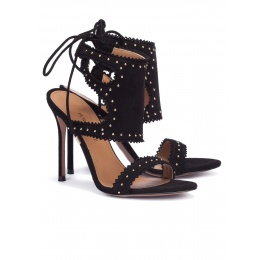 Studded high heel sandals in black suede Pura López