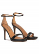 Ankle strap platform heeled sandals in black leather