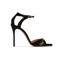 Crystal-embellished high heel sandals in black suede Pura López