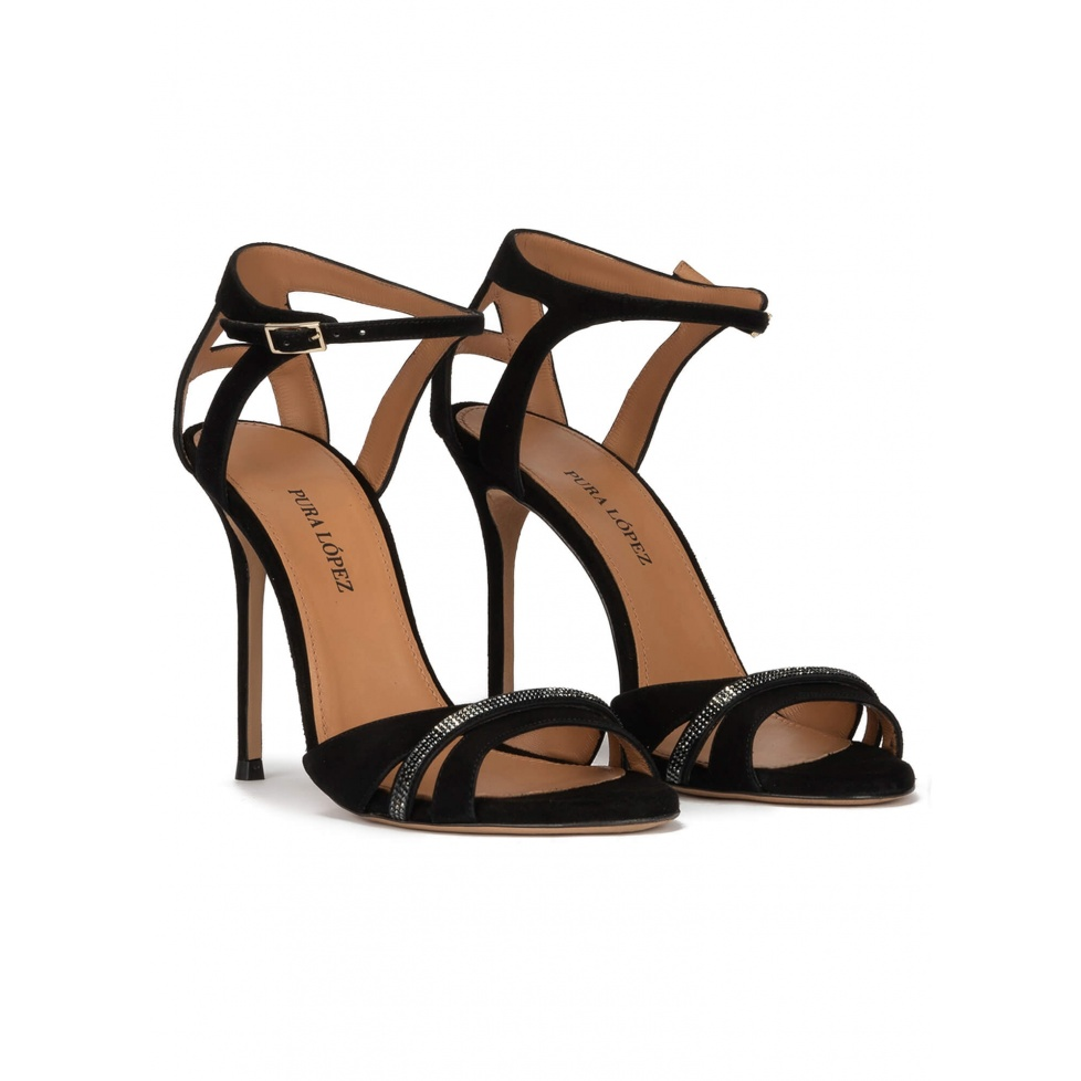 Crystal-embellished high heel sandals in black suede