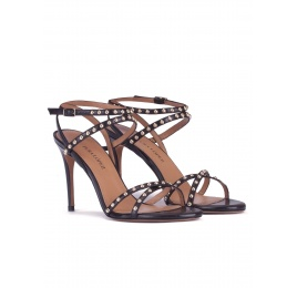 Studded high heel sandals in black leather Pura López