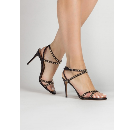 Studded high heel sandals in black leather Pura L�pez