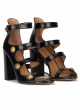 High block heel sandals in black leather with buttons