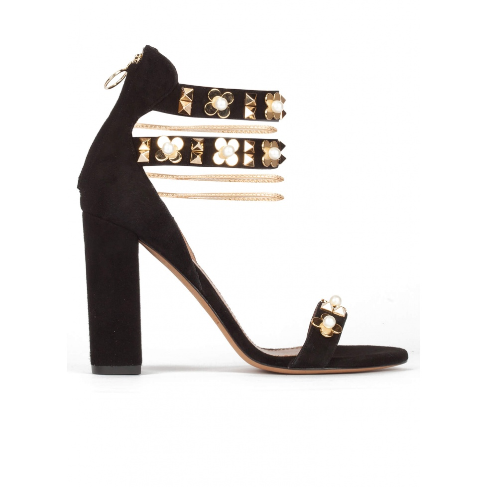 Ankle strap high block heel sandals in black suede