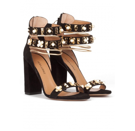 Ankle strap high block heel sandals in black suede Pura L�pez