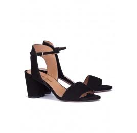 Sandalias de tacón ancho en ante negro Pura López