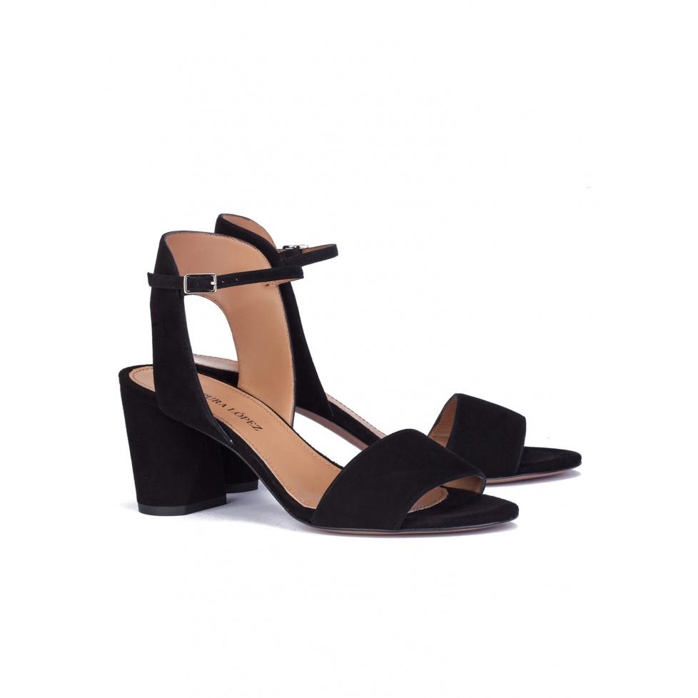 Mid heel sandals in black suede - online shoe store Pura Lopez